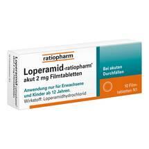Produktbild Loperamid ratiopharm akut 2 mg Filmtabletten