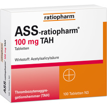Produktbild ASS Ratiopharm 100 mg TAH Tabletten