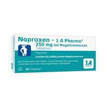 Produktbild Naproxen 1A Pharma 250 mg bei Regelschmerzen Tabletten