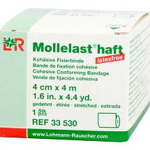 Mollelast haft latexfrei 4cmx4m gedehnt weiß
