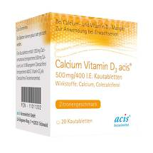 Produktbild Calcium Vitamin D3 acis 500 mg / 400 I.E. Kautabletten