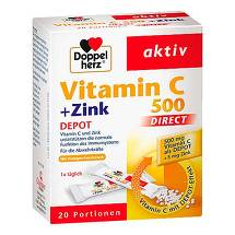 Doppelherz Vitamin C 500 + Zink Depot direct Pellets