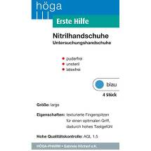 Produktbild Erste Hilfe Nitrilhandschuhe unsteril pf.latexfrei L blau