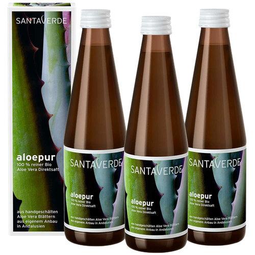 aloepur 100 % reiner Aloe Vera Saft Sparpack - 1