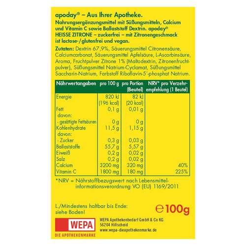 Apoday Heiße Zitrone Vitamin C und Calcium ohne Zucker Pulver - 2