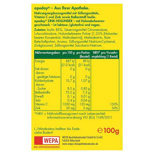Apoday Holunder Vitamin C + Zink ohne Zucker Pulver - 2