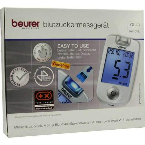 Beurer GL40 mmol / l Blutzuckermessgerät codefree - 1