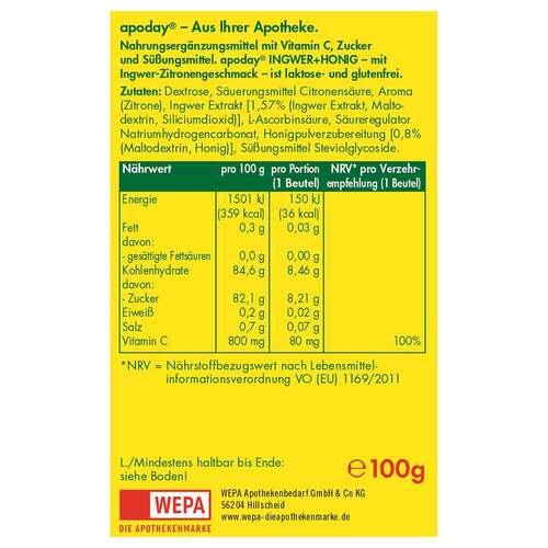 Apoday Ingwer + Honig + Vitamin C Pulver - 2