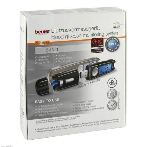 Beurer GL50 mg / dl Blutzuckermessgerät schwarz - 1
