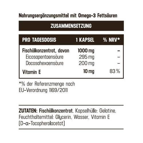 Omega 3 1000 mg / 495 mg hochdosiert Balasense mit Vitamin E - 3