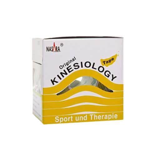 Nasara Kinesio Tape 5 cm x 5 m gelb inkl.Spenderbox - 1