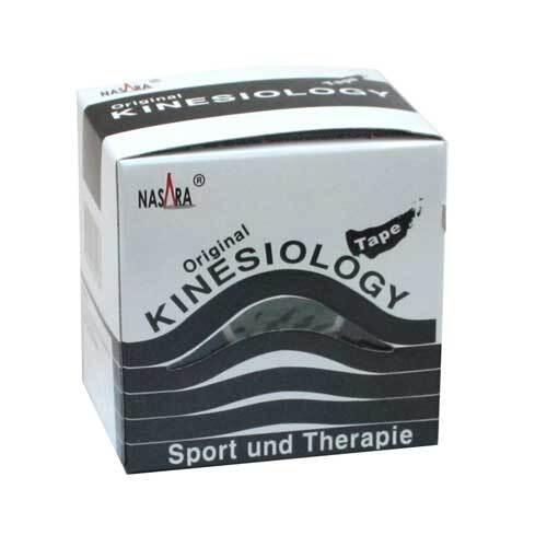 Nasara Kinesio Tape 5 cm x 5 m schwarz inkl.Spenderbox - 1
