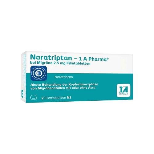 Naratriptan 1A Pharma bei Migräne 2,5 mg Filmtabletten - 1