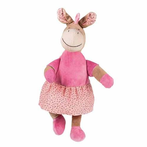 Velour-Pferd Diva rosa 0,8 l Wärmflasche mit Bezug - 1