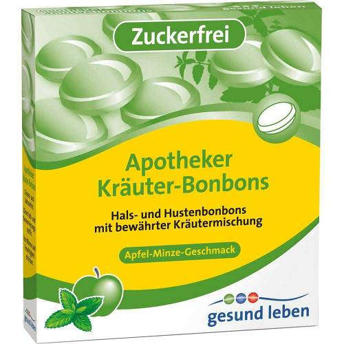 Gesund Leben Apotheker Kräuterbonbons Apfel-Minze zuckerfrei - 1