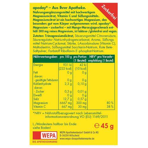 Apoday Magnesium Mango-Maracuja zuckerfrei Pulver - 2