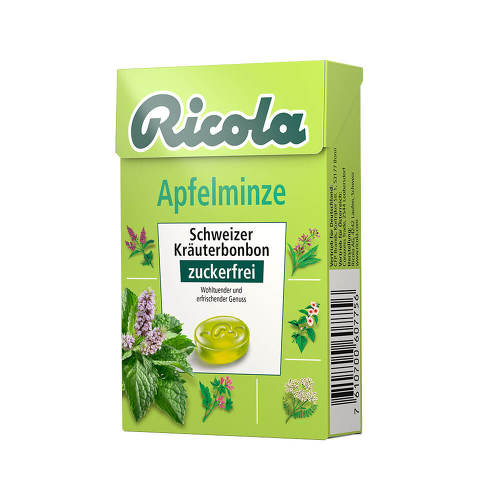 Ricola ohne Zucker Box Apfelminze Bonbons - 1
