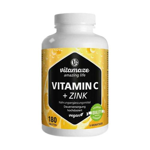 Vitamin C 1000 mg hochdosiert + Zink vegan Tabletten - 1