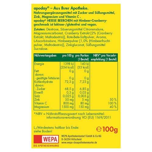Apoday heiße Beerchen + Vitamin C + Zink + Magnesium Pulver - 2