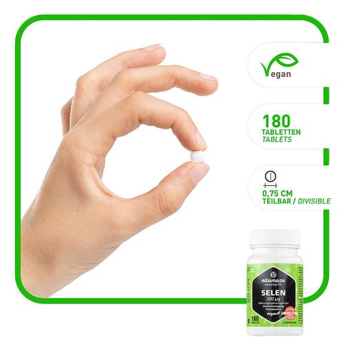 Selen 200 µg hochdosiert vegan Tabletten - 2