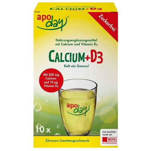 Apoday Calcium + D3 Zitrone-Limette zuckerfrei Pulver  - 1