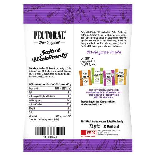 Pectoral Salbei Waldhonig Bonbons Beutel  - 2