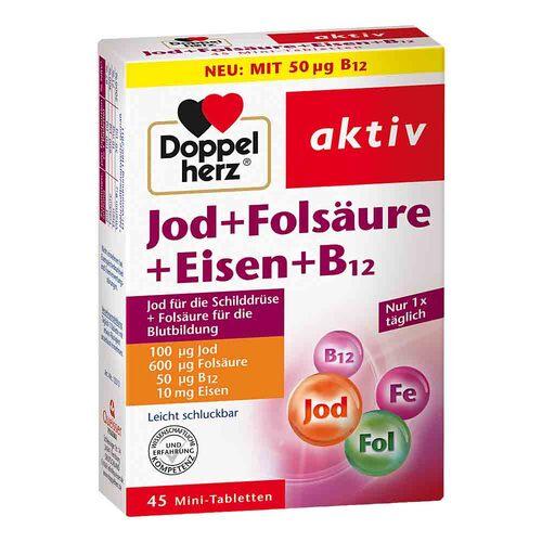 Doppelherz Jod + Folsäure + Eisen + B12 Tabletten - 1