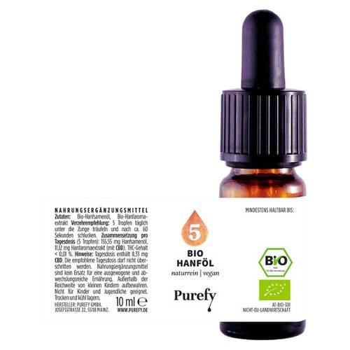 Bio Hanföl 5% Cbd Vollspektrum Purefy Tro.zum Einnehmen  - 2
